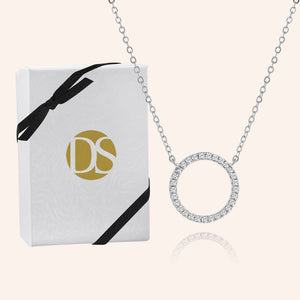 """Infinite Glitz"" 1.0CTW Pave Open Circle Pendant Necklace - Silver"