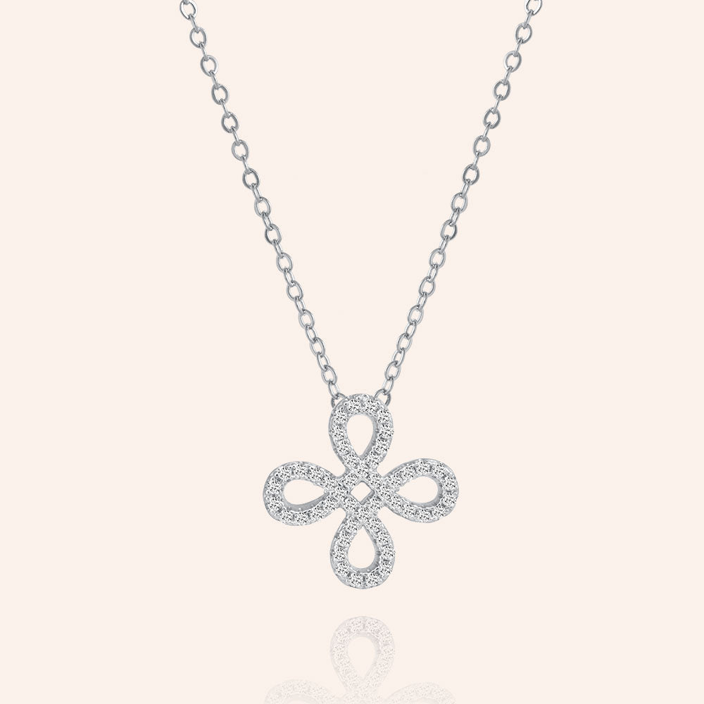 """Free to Flourish""  1.0CTW Pave 4 Petals Cut-Out Design Pendant Necklace - Silver"