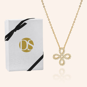"""Free to Flourish""  1.0CTW Pave 4 Petals Cut-Out Design Pendant Necklace - Gold"