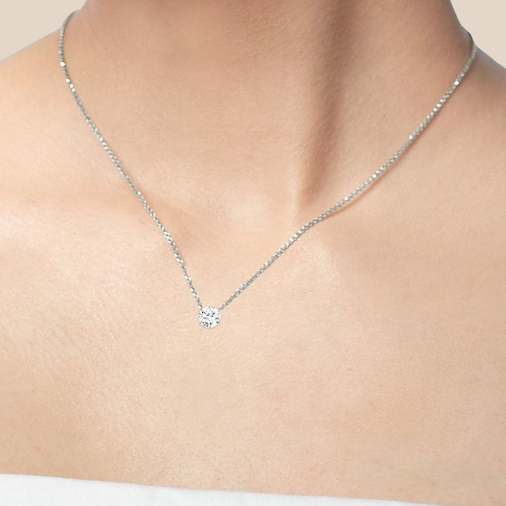"""Shine On"" 0.5CTW Round Cut Solitaire Pendant Necklace"