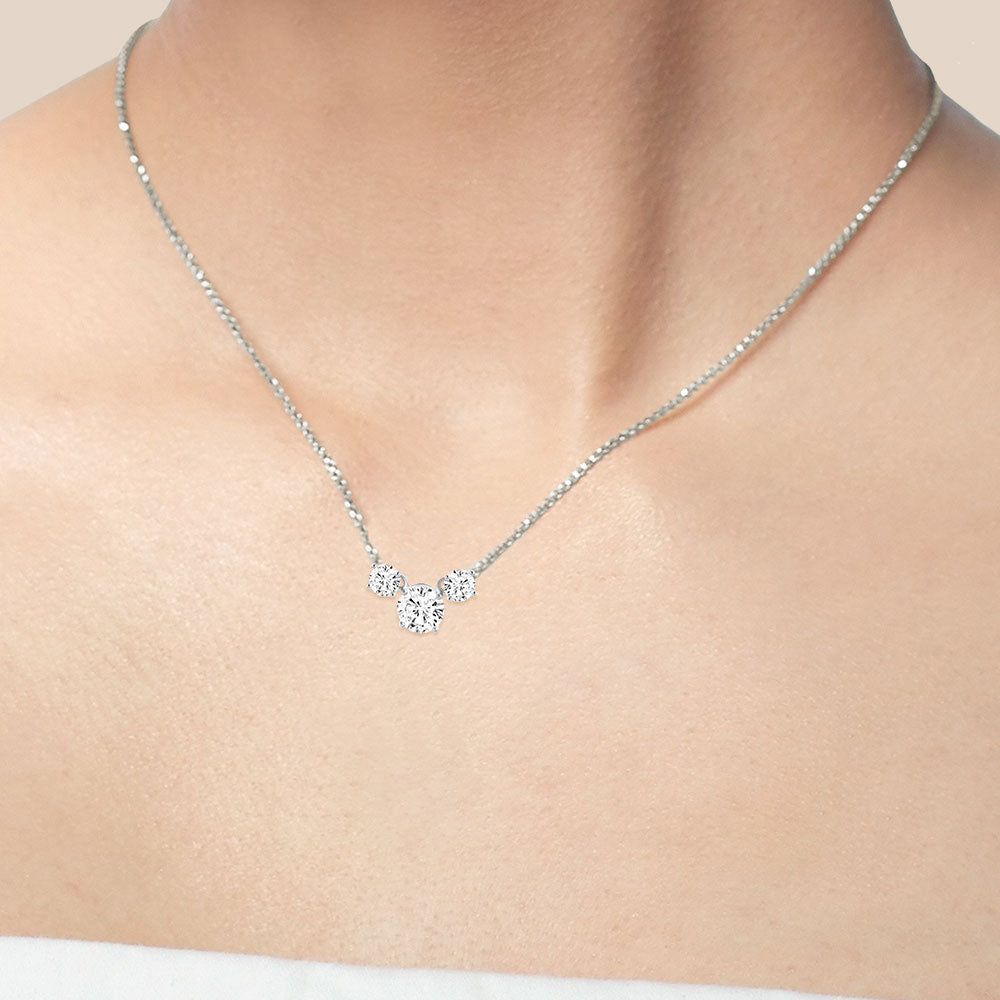 """Shine On"" 0.7CTW Round Cut 3 Graduated Stones Necklace - Silver"