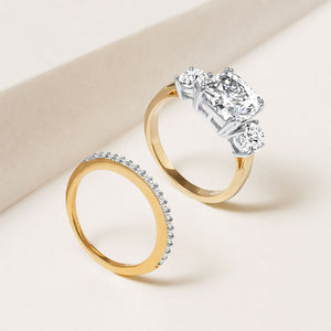 """Yes, I Do"" 5.2CTW 3 Stone Cushion Cut  & Eternity Band Ring Set - Two Tone"