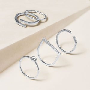 """Lucky Me"" 1.0CTW Set of 5  Stackable Rings - Silver"