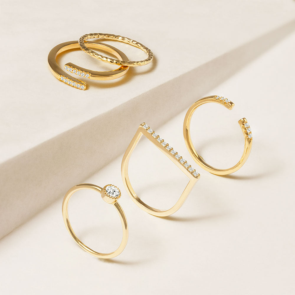 """Lucky Me"" 1.0CTW Set of 5  Stackable Rings - Gold"