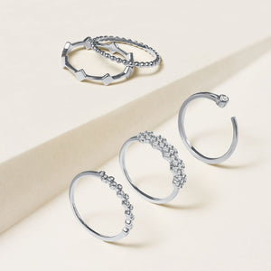 """Suits me Perfectly""  010CTW Set of 5  Stackable Rings - Silver"