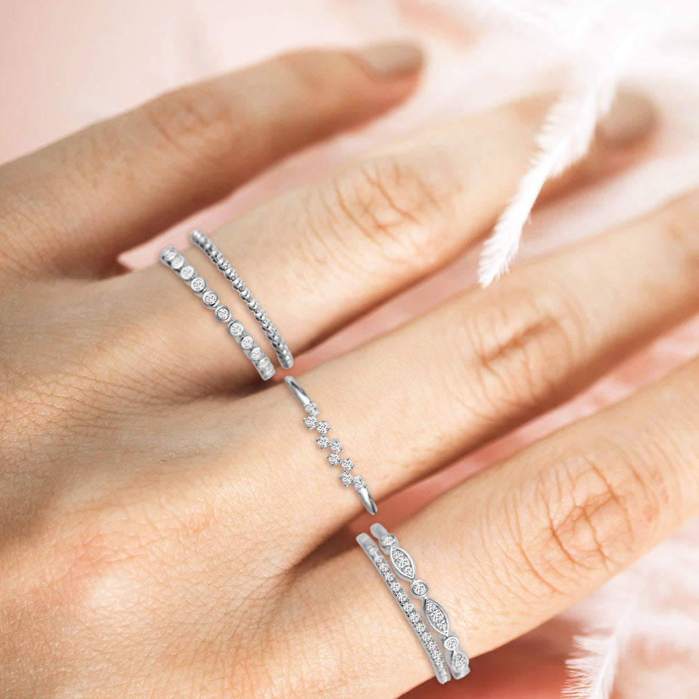 """My Favorite Crew"" 1.0CTW Set of 5  Stackable Rings - Silver"