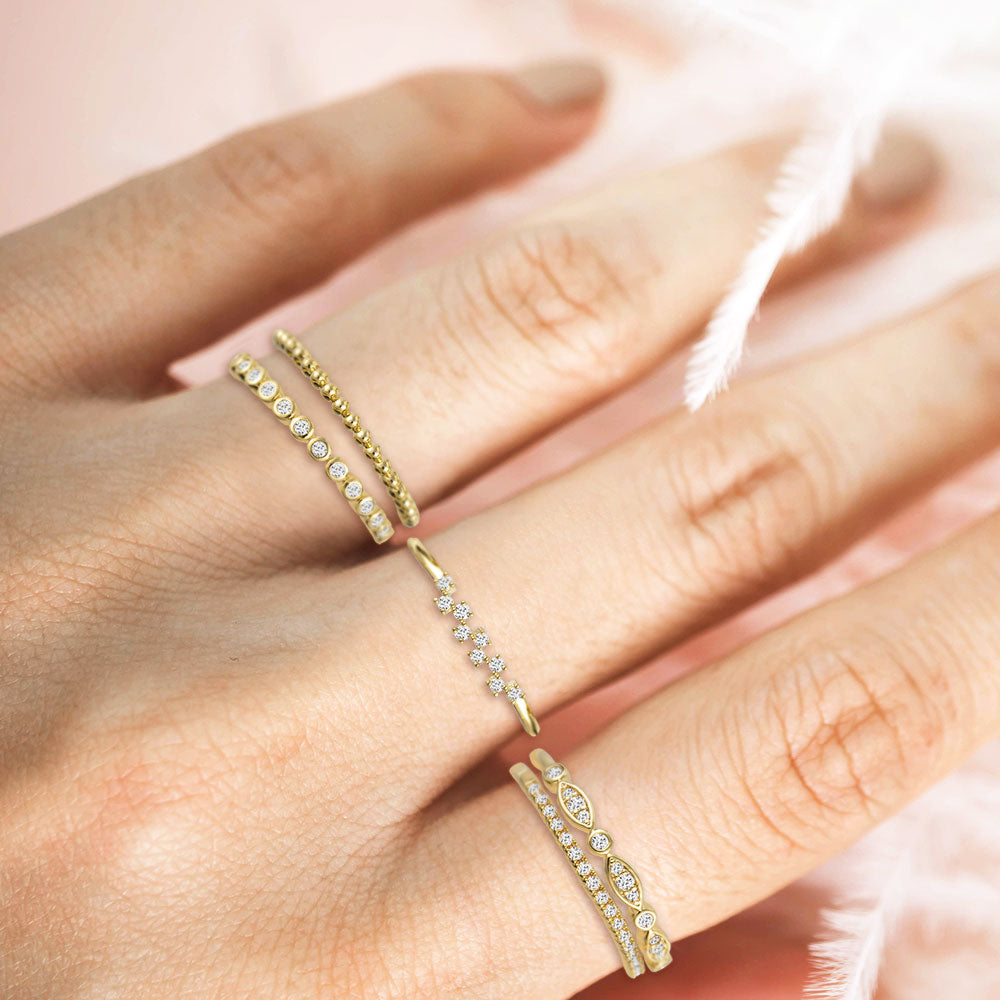 """My Favorite Crew"" 1.0CTW Set of 5  Stackable Rings - Gold"