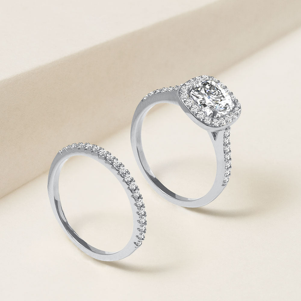 """Every Girl's Dream"" 2.3CTW Asscher Cut Halo & Eternity Band Ring Set - Silver"