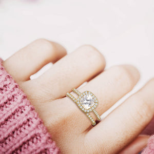 """Every Girl's Dream"" 2.3CTW Asscher Cut Halo & Eternity Band Ring Set - Gold"
