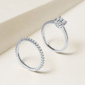 """Every Girl's Dream"" 2.0.8CTW Round Cut Solitaire & Eternity Band Ring Set - Silver"