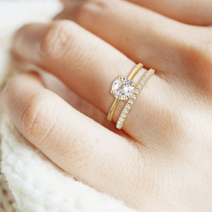 """Every Girl's Dream"" 2.0.8CTW Round Cut Solitaire & Eternity Band Ring Set - Gold"