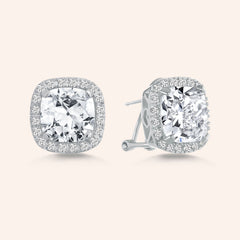 """My Darling"" 8CT Cushion CUT HALO STUD EARRINGS - Silver"