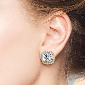 """My Darling"" 8CT Cushion Cut Halo Stud Earrings"