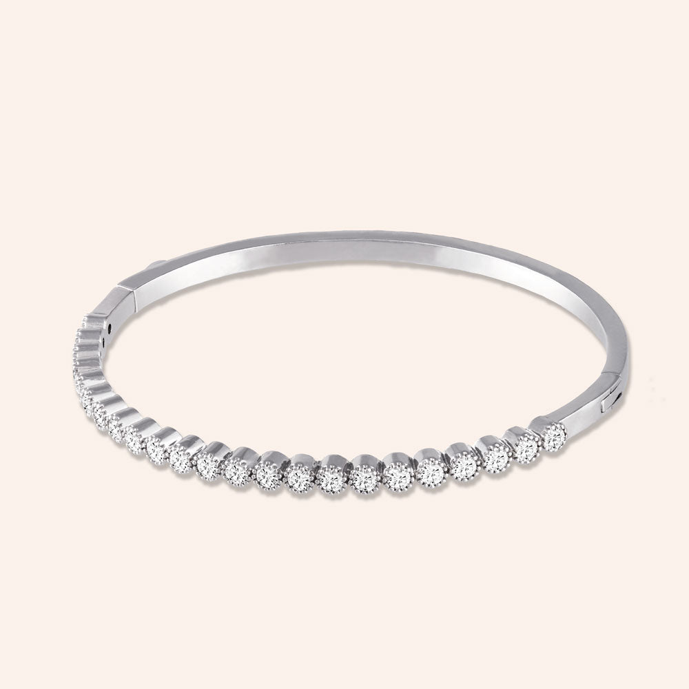 """Royal Touch"" 3.5CTW Hinged Bangle Bracelet - Silver"