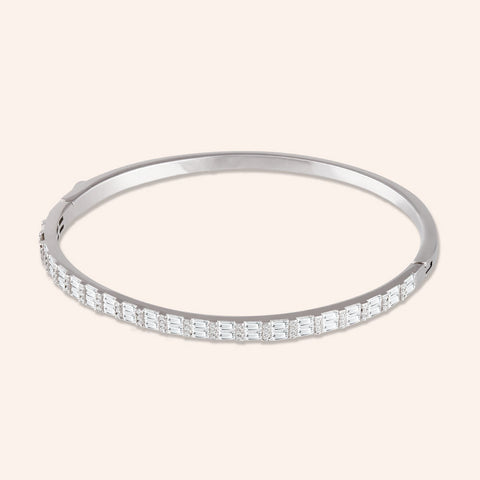 """Endless Baguettes"" 4.9CTW HINGED BANGLE BRACELET - Silver"