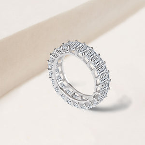 """ETERNAL STAPLE"" 5.75CTW BAGUETTE CUT ETERNITY BAND RING - SILVER"