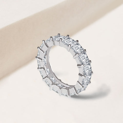 """Eternal Staple"" 5.9CTW Princess Cut eternity band RING - SILVER"