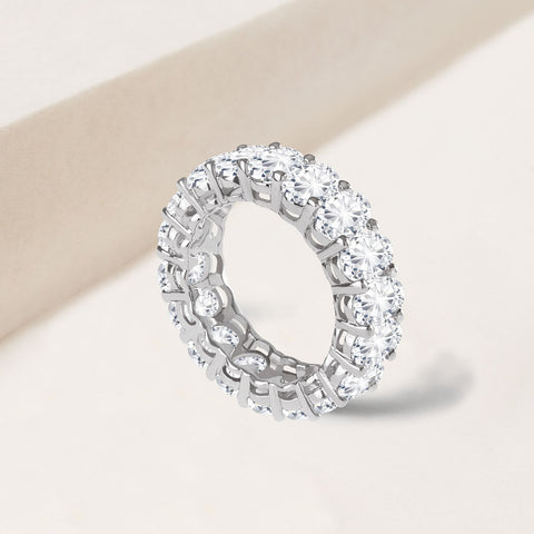 """ETERNAL STAPLE"" 9.5CTW OVAL CUT ETERNITY BAND RING - SILVER"