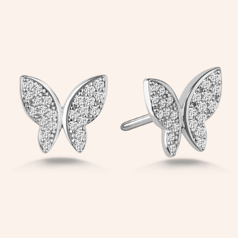 """Princess Legacy"" 2.6CTW Pave Butterfly Design Post Earrings - Silver"
