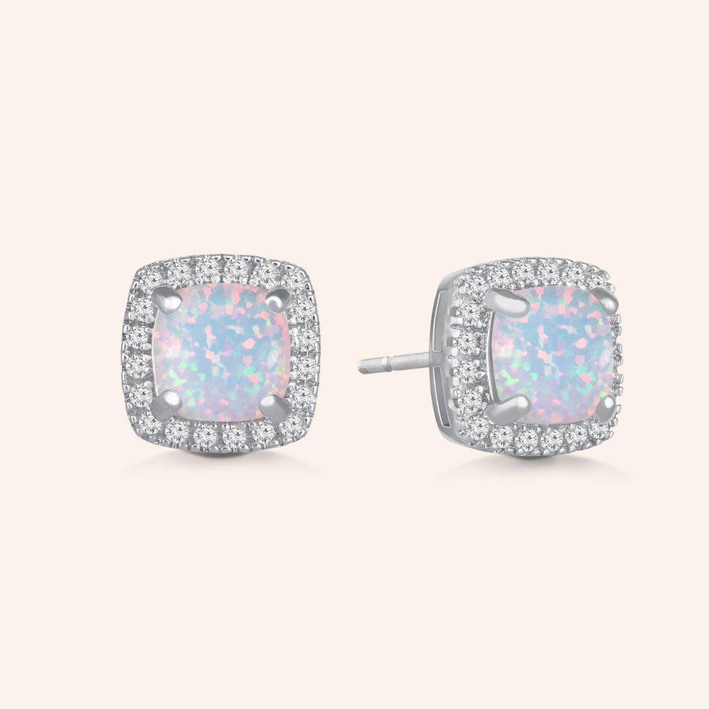 """Just For Me"" 1.0CTW Square Opal Halo Stud Earrings  - Sterling Silver / Gold Vermeil"