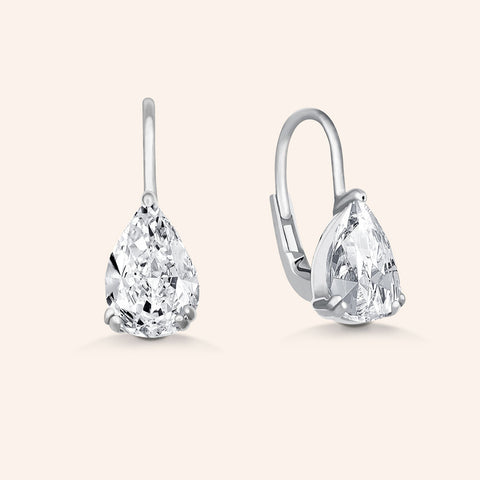 """Naomi"" 1.6CTW Micro-Pave Linear Drop Earrings - Silver"