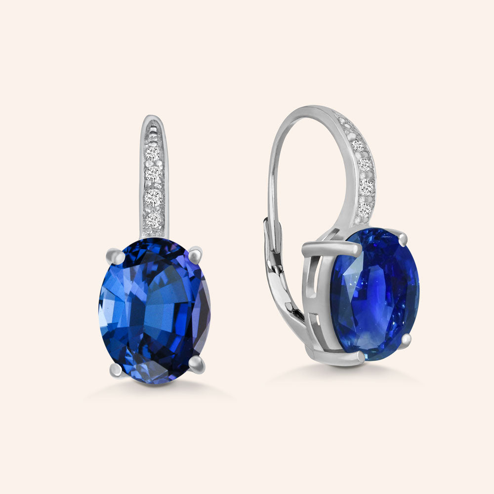 """Nicole"" Oval Cut Sapphire Blue Drop Earrings - Silver"