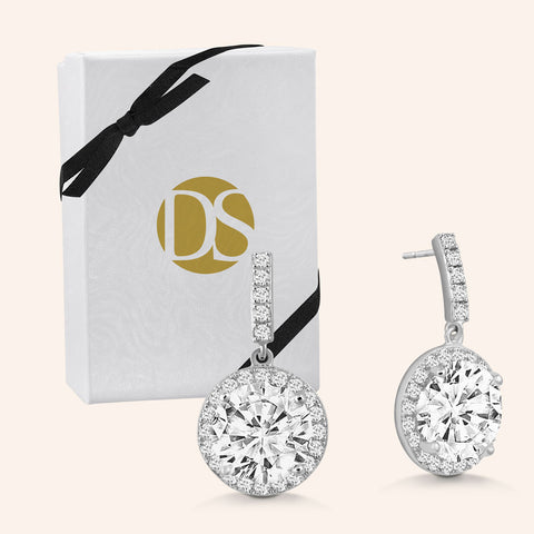 """Exquisite Elegance"" 5CTW Round Cut Halo Dangle Earrings  - Silver"