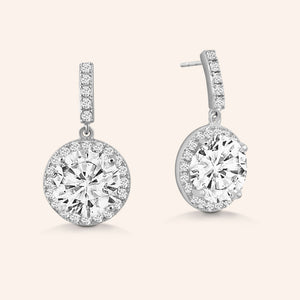 """Exquisite Elegance"" 5CTW Round Cut Halo Dangle Earrings"