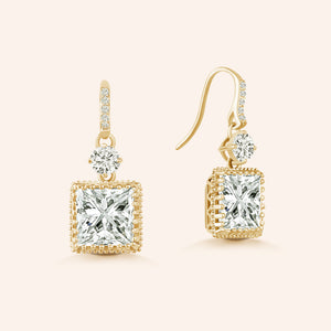 """Stunning Dangles"" 6.5CTW Princess Cut Dangle Earrings"