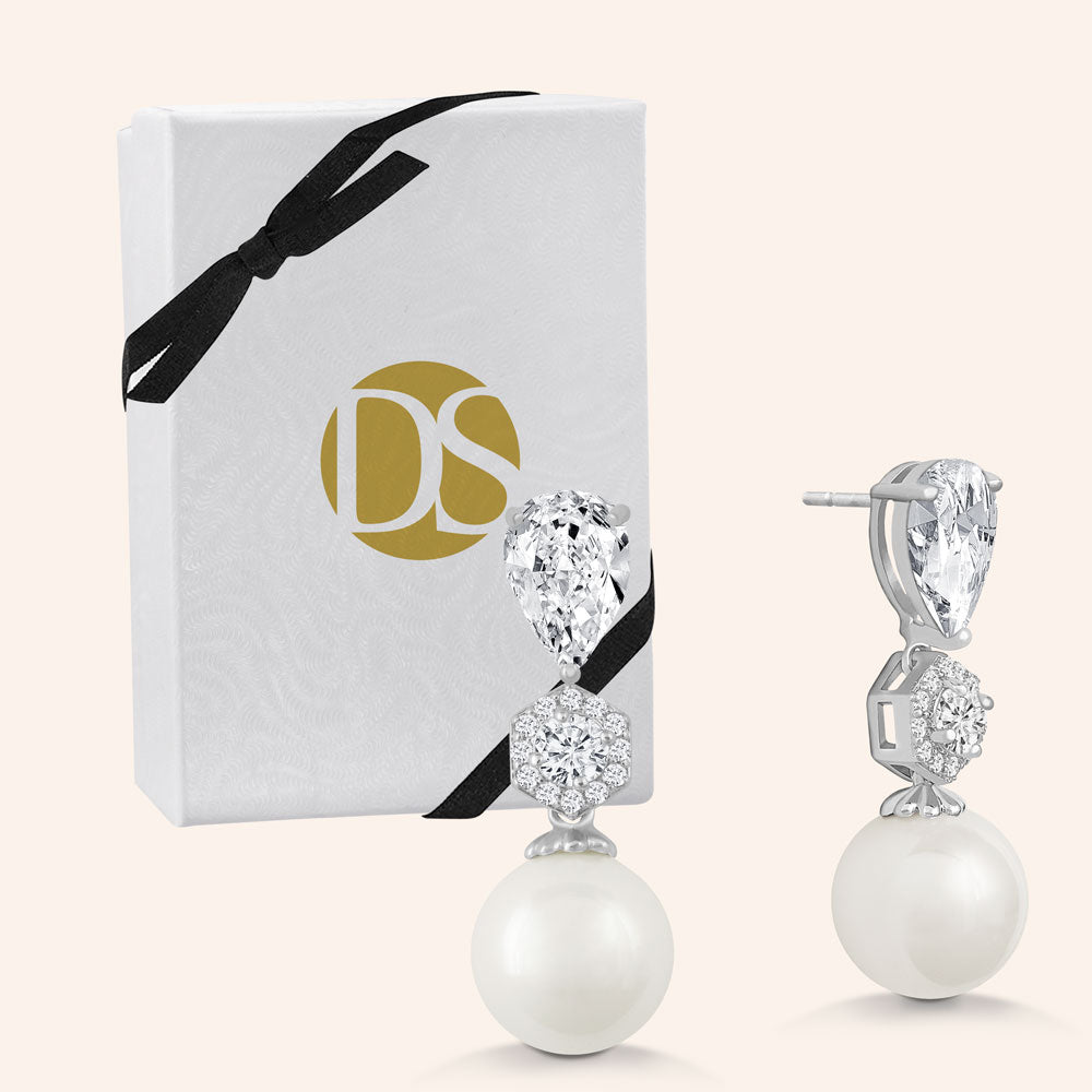 """Ladies Choice"" 2.4CTW Pear Cut Stone Pearl Drop Earrings"