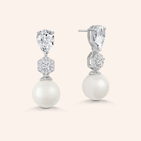 """Ladies Choice"" 2.4CTW Pear Cut Stone Pearl Drop Earrings - Silver"