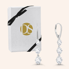 """What a Dangle"" 4CTW Graduated 3 Oval Cut Stones Drop Earrings - Silver"