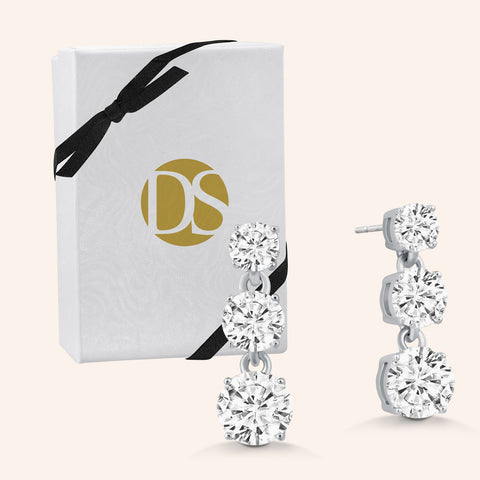 """Three Ways to Shine"" 3.0ctw Round, Heart and Princess Cut set of Sterling Silver Post Earrings - Silver Over Sterling Silver"