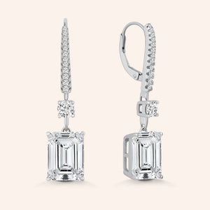 """Angelina"" 9.5CTW Emerald Cut Drop Earrings"
