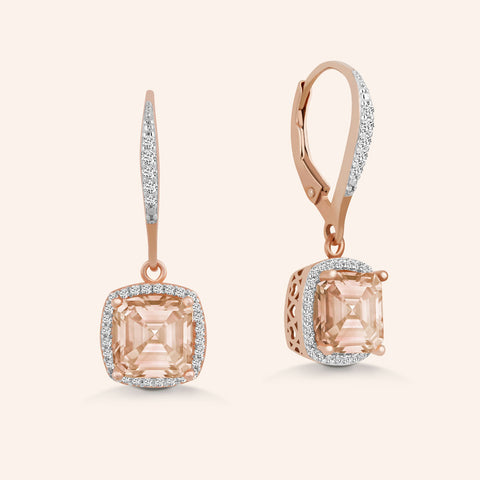"""Just For Me"" 1.0CTW Square Opal Halo Stud Earrings  - Gold Vermeil over Sterling Silver"