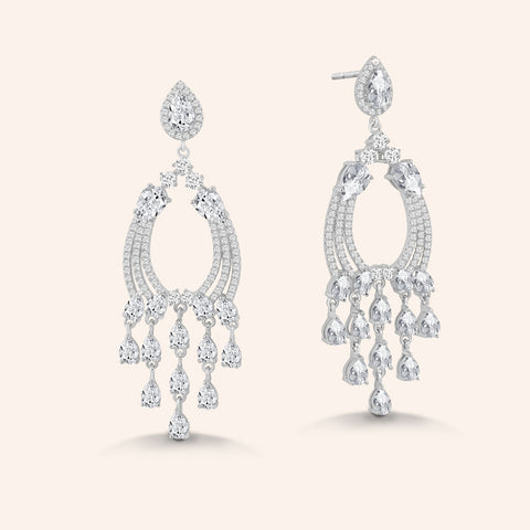 """Julia"" 9CTW Graduated Pear Cut Stones Linear Drop Earrings - Silver"