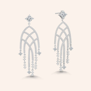 """Issa"" 4CTW Princess Cut Post Chandelier Earrings - Silver"