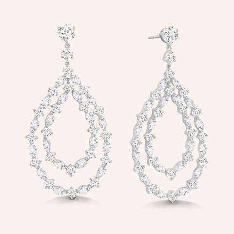 """Gemma"" 2CTW Pear Cut Halo Dangle Earrings  - Silver"