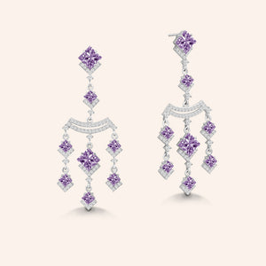 """Kendall"" Amethyst Princess Cut & Round Cut Stones Chandelier Earrings - Silver"