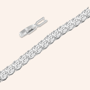 """Masterful Shine"" 19CTW Round Cut Tennis Bracelet - Includes Extender - Silver"
