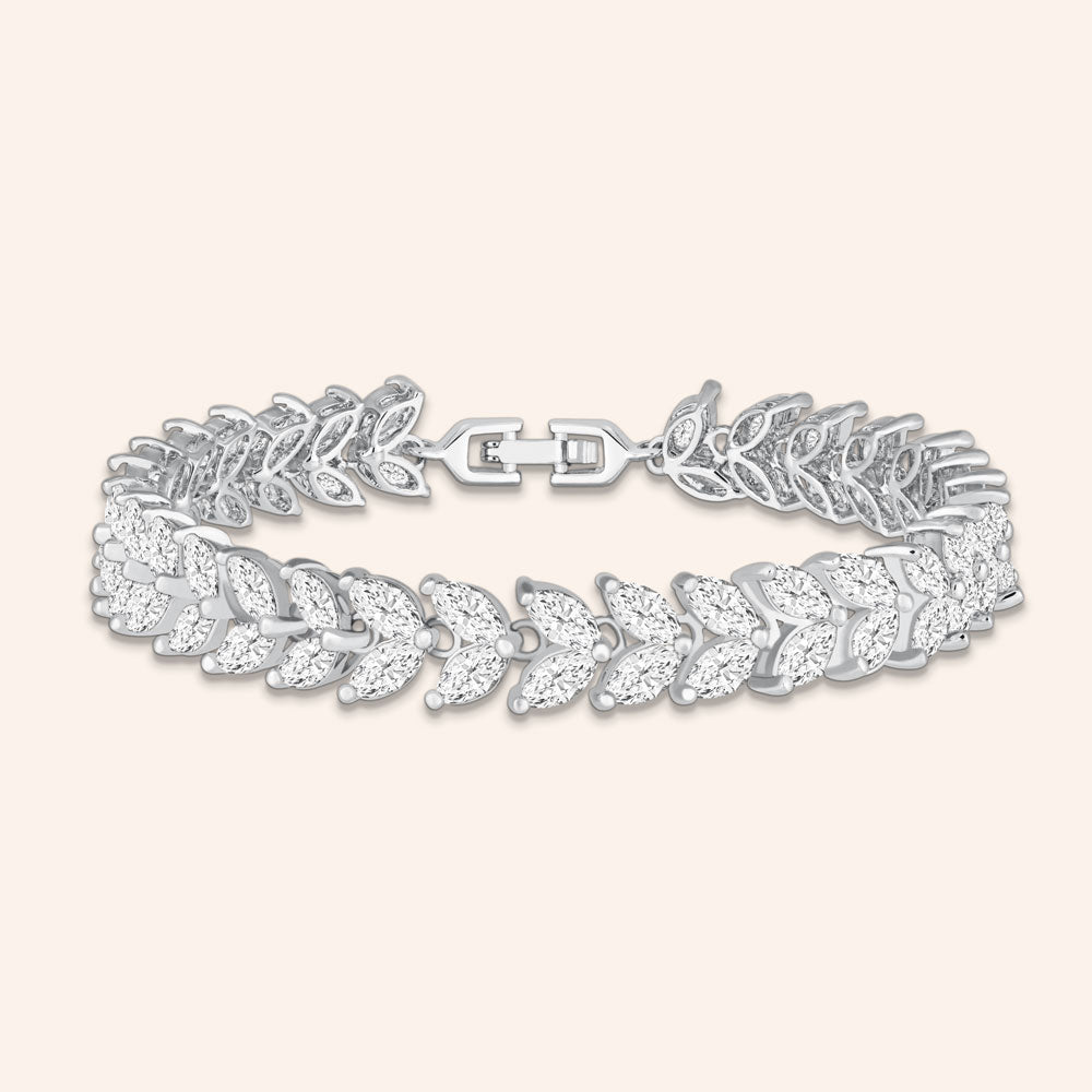 """An Evening Out""14.5CTW Marquise Cut Tennis Bracelet - Includes Extender - Silver"