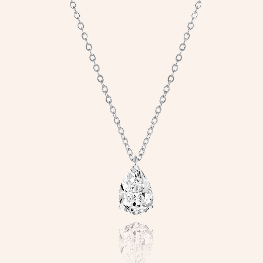 """Signature Shine"" 4.2CTW  Pear Cut Solitaire Pendant Necklace"