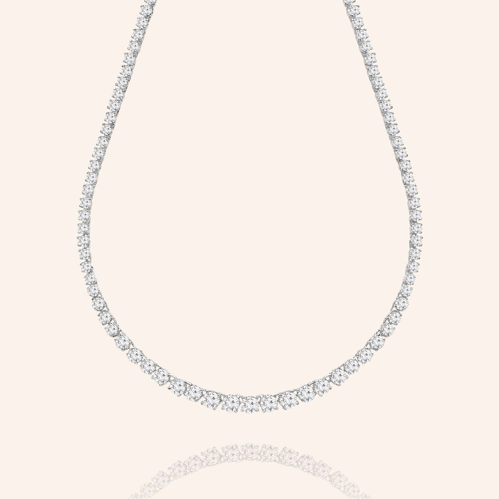 Master Piece 19CTW  Graduated Round Cut Stones Tennis Necklace - Includes Extender - Silver