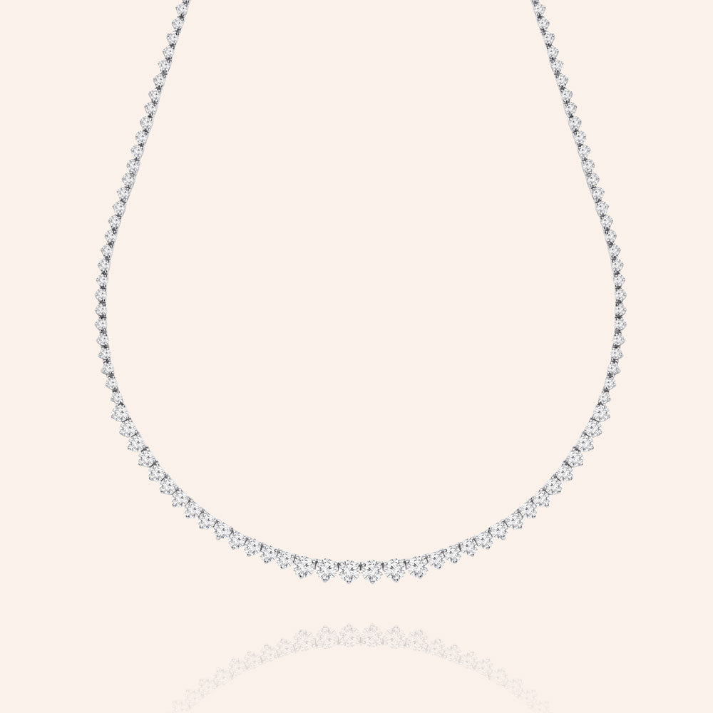 """Unforgettable"" 13.5CTW  Graduated Round Cut Stones Princess Setting Infinity Necklace - Includes Extender - Silver"