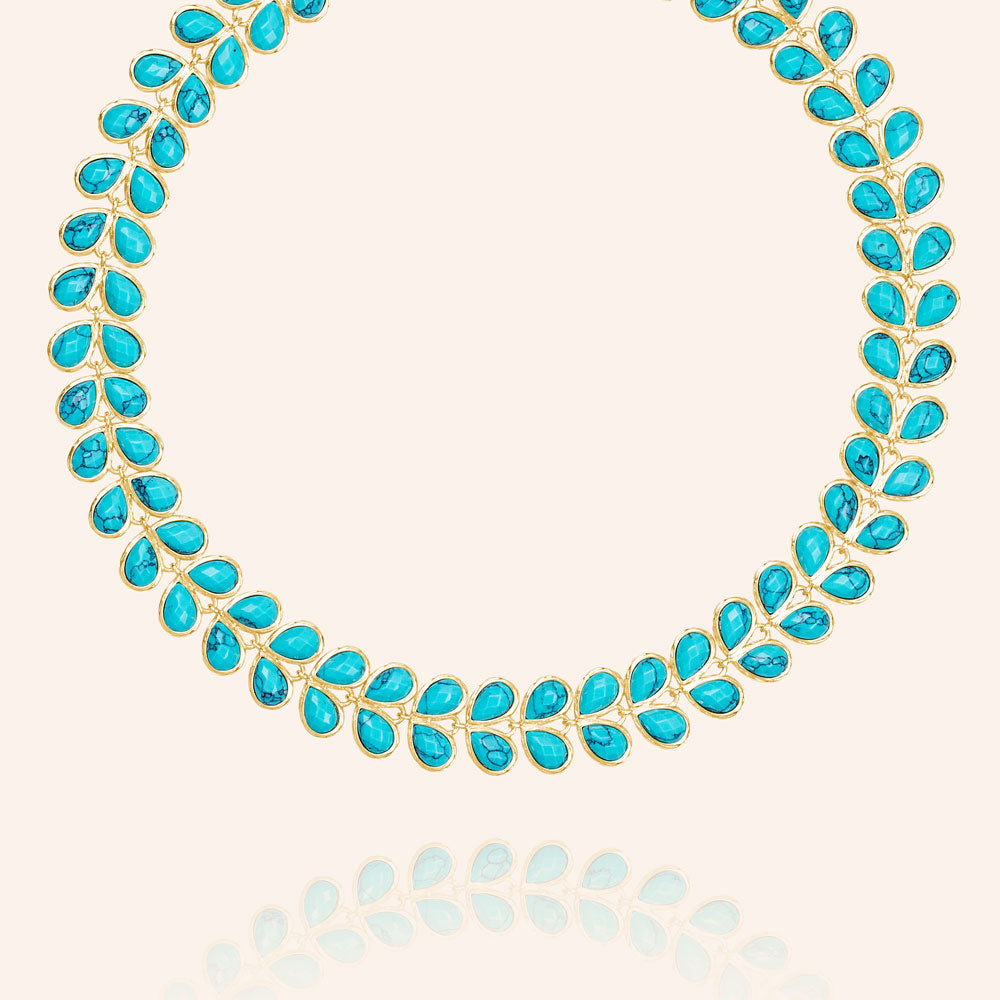 """Heavenly"" Faceted Turquoise Stones Eternity Necklace - Gold"