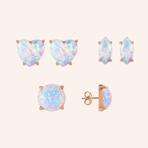 """Three Ways to Glow""  Round, Heart and Marquise Cut Set of 3 Opal Post Earrings -  Sterling Silver / Rose Gold Vermeil"