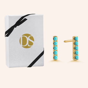 """My Daily"" 0.9CTW Pave Rainbow Linear Bar Stud Earrings - Gold Vermeil over Sterling Silver"