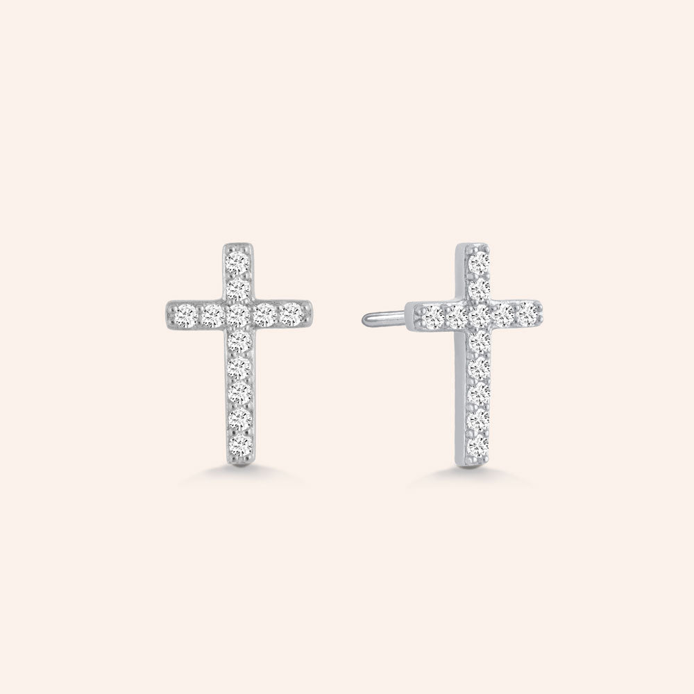 """Holy Me"" 0.8CTW Pave Cross Stud Earrings - Sterling Silver / Gold Vermeil"