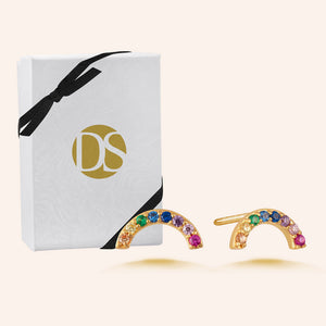 """Prism"" 0.9CTW Pave Linear Rainbow Stud Earrings - Gold Vermeil over Sterling Silver"