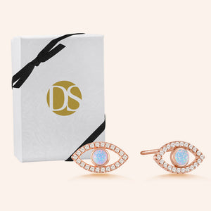 """Eye See you"" 0.9CTW Round Opal Halo Evil Eye Earrings -  Sterling Silver / Rose Gold Vermeil"